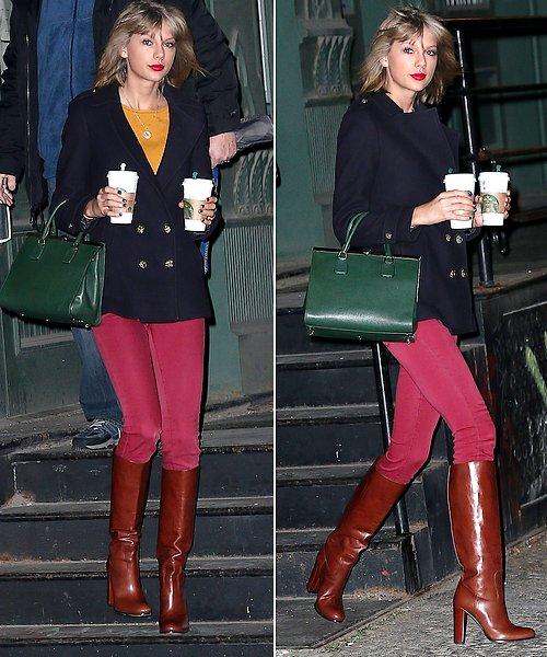 01 Janvier : Taylor a commencé l'année 2015 en beauté, alors qu'elle sortait de chez elle.