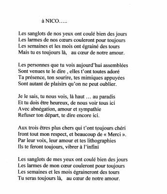 Poeme Pour Nico En Hommage De Mon Fils Nicolas