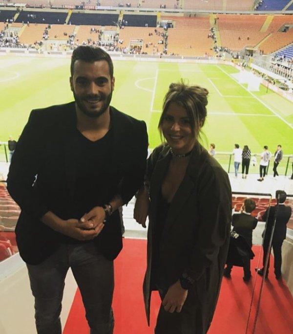 Émilie & Loic Fiorelli à San Siro lors de Milan AC - Lazio