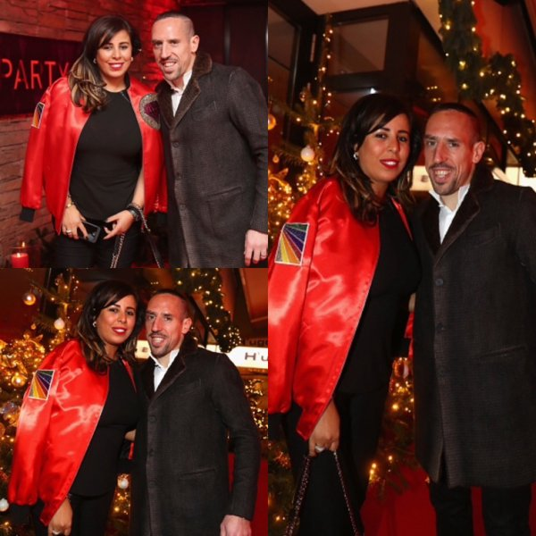 Wahiba & Franck Ribéry lors de la soirée de Noël du Bayern