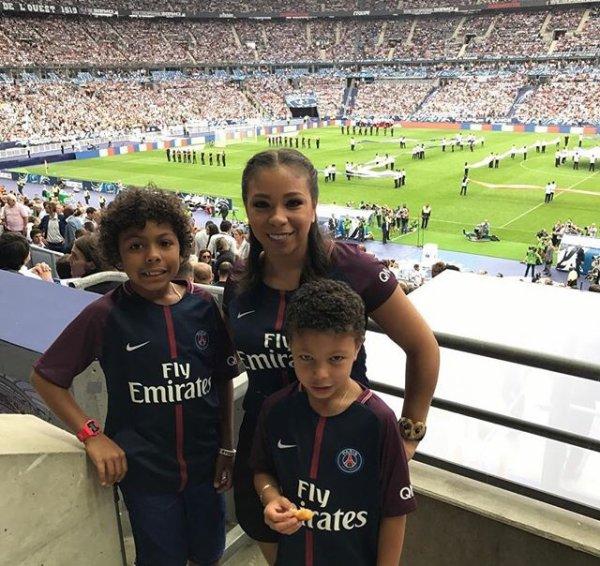 Isabelle avec Iago & Isago lors de PSG - SCO Angers