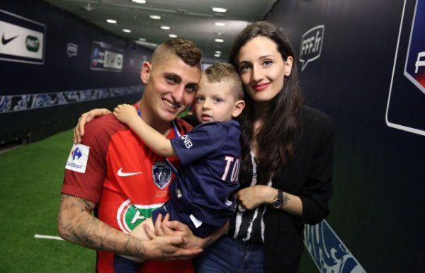 Laura & Marco Verratti lors de PSG - SCO Angers
