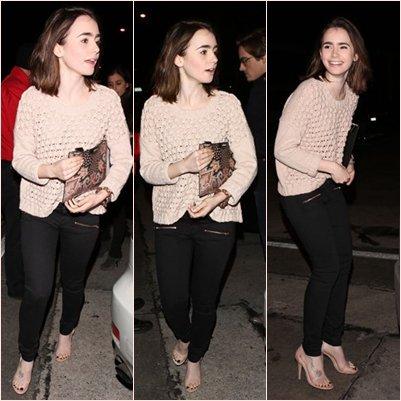 Le 5 Février 2014  Lily de sortie avec son Boy-Friends Thomas Cocquerel à la sortie du restaurant de West Hollywood, Côte tenue simple et qui lui va bien !