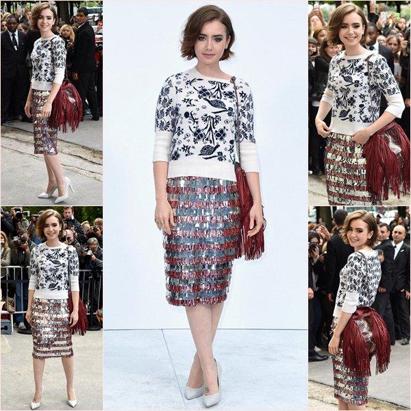 Fashion Week Parisienne Lily en France pour nous faire part de sa présence au défilé Chanel, avec une tenue que je n'approuve pas tellement et vous?!