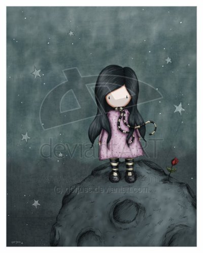 Une fille seule et désespérer ... attend sur la lune son amoureux mystérieux