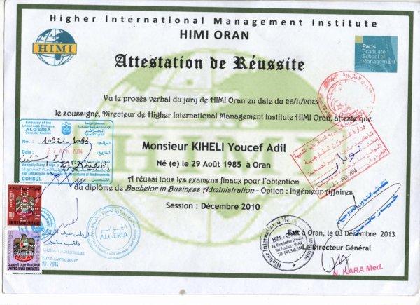 mon diplome validé par ambassade de dubai  et ministère des affaires Étrangère !