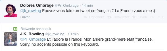 Quand J.K Rowling répond a un(e) fan(e) Français(e) sur Twitter + Un chauffeur de taxi pour Emma Watson à Paris