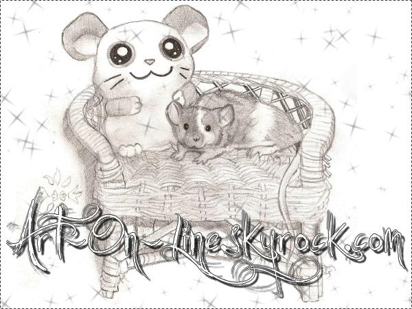 Article n°6  [Caline, une de mes souris dans un fauteuil © Copyright Art-On-Line