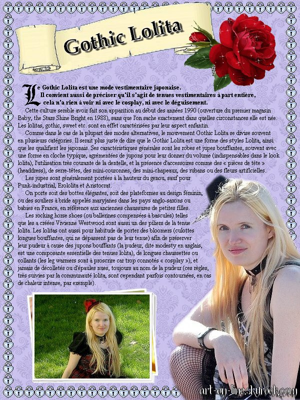 Article n°2 © Copyright Art-On-Line♫ GOTHIC LOLITA ♫   [ ^^ Ajouter aux amis ] - [ $-) Ajouter aux favoris ] - [ 8-p Mon Site ] - [ :D Faire tourner ce blog ] -  [ :) 1000 ]