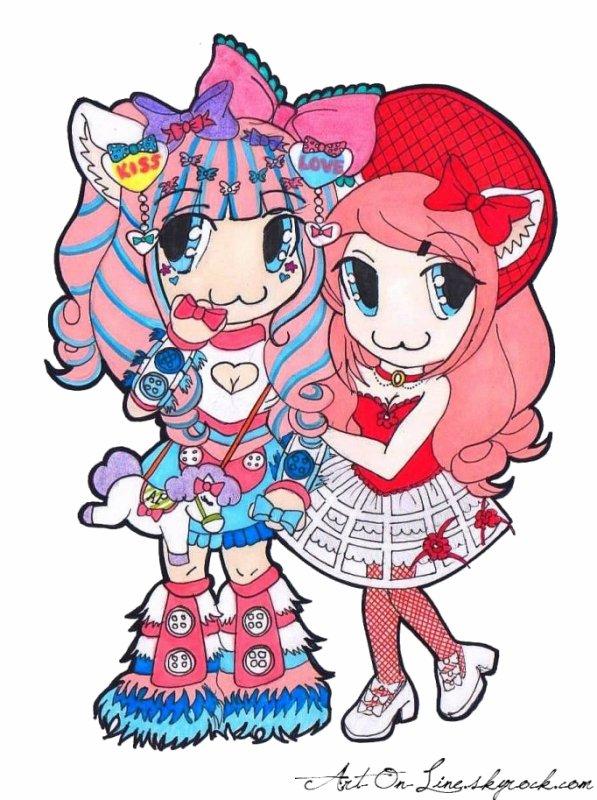 NOUVEAU DESSIN en mode de Mew Nekohime sa Miajesté et Lina Nekolita Chan à la Japan Expo 2014