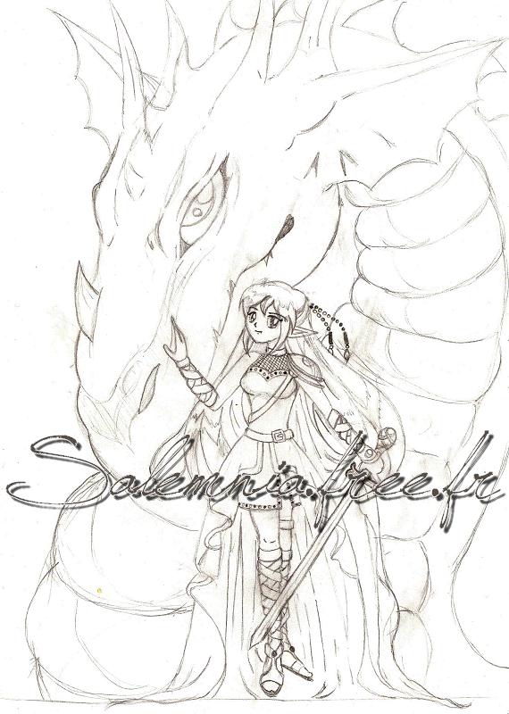 Article n°**  Sam la guerrière et son dragon (personnage inventé par moi-même) © Copyright Art-On-Line TECHNIQUE : • Crayon à papier  ___________________________________________________________________________________________________ [ ^^ Ajouter aux amis ] - [ $-) Ajouter aux favoris ] - [ 8-p Mon Site ] - [ :D Faire tourner ce blog ] - [ :) 1000 ]