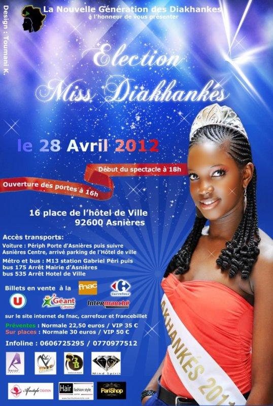 Miss DIAKHANKE 2eme edition samedi 28 Avril 2012 a partir de 16h00