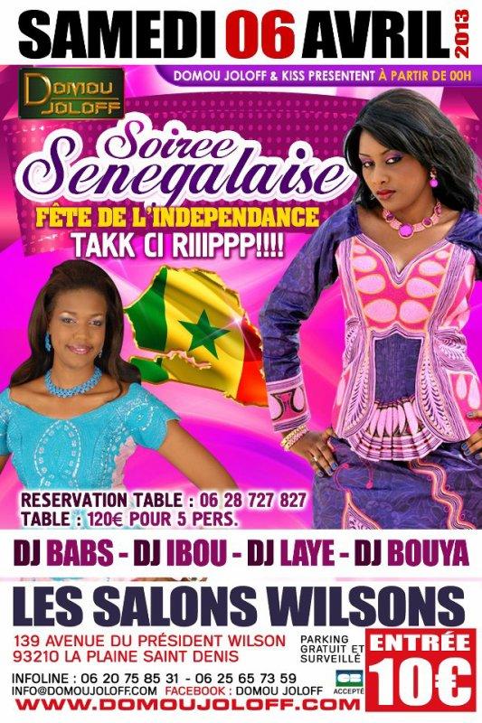 Samedi 06 Avril 2013 La Grande Soirée Sénégalaise avec les meilleurs DJ Sénégalais