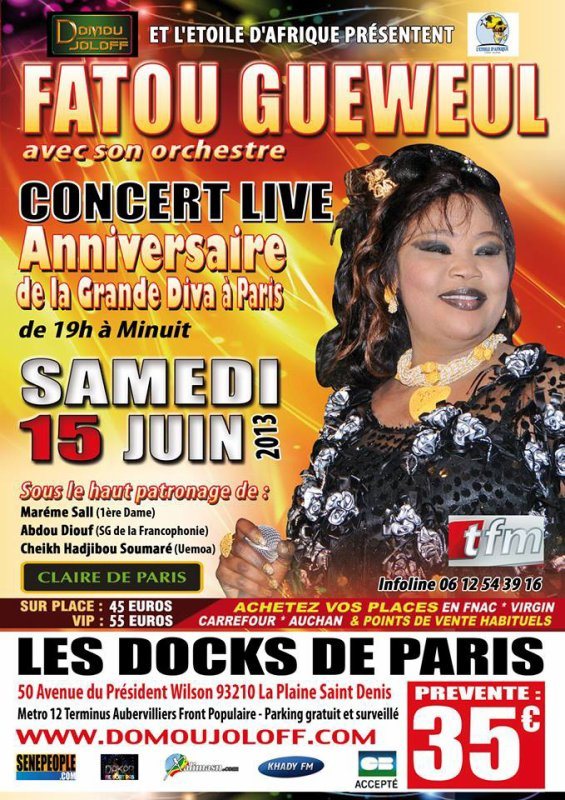 ANNIVERSAIRE DE FATOU GUEWEUL A PARIS SAMEDI 15 JUIN 2013