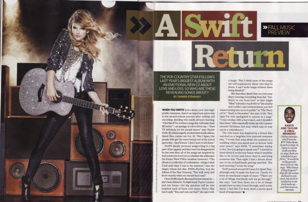 "; ..:: scans du magasine Entertainment Weekly.  ::.. ;  Elle parle de deux nouveau titre de son album (""The Story of Us"" et ""Back to December"")  ;  La chanson ""Back to December"" s'adresse a Taylor Lautner car elle lavait larguer en decembre. elle s'excuse :""Je n'ai pas fait attention aux sentiment d'un garçon alors que j'aurai du""   Alors qu'en pensez vous ?   ; [ Ajoute moi a tes amis ] :::"