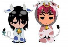 Byakuya et Renji (chibi vache)
