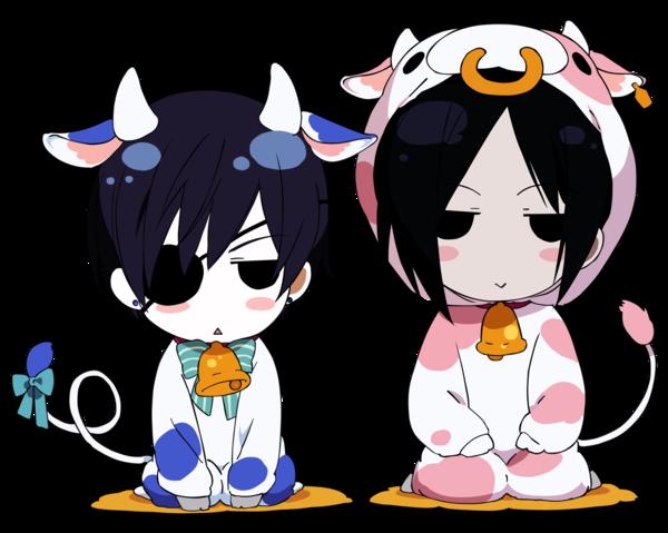 Ciel et Sebastian (chibi vache)