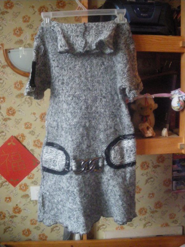 pull col roulé tunique gris