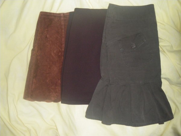 jupe marron + marron ouverte + kaki poches