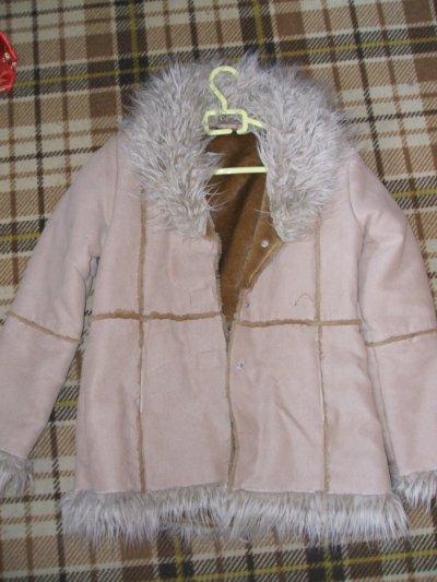 manteau beige fourrure