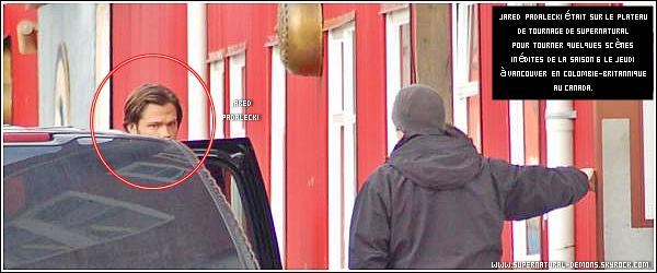 . 16/01/11 : Découvrez des news photos de l'épisode 11 saison 6 de SUPERNATURAL «Appointment in Samara (Rendez-vous à Samara)».    Suite à quelques photos de l'épisode 6 de la saison 6 de SUPERNATURAL « You Can't Handle the Truth (Vous ne pouvez pas supporter la vérité)».     Et enfin voici une nouvelle photo de Jared qui date du Jeudi 13 Janvier 2011 sur le plateau de tournage de SUPERNATURAL à Vancouver en Colombie-Britannique au Canada.    .