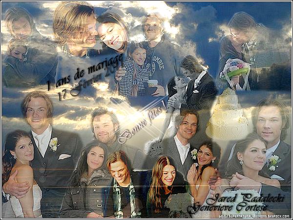 . Jeudi 17 Février 2011   L'année dernière, Jared Padalecki et Genevieve Cortese se sont mariés le 17 février 2010. Aujourd'hui nous fêtons 1 ans de mariage et fidélité. Bonne anniversaire de mariage. .