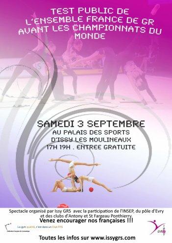 Test de l'ensemble France avant les ♥♥♥ 31ème Championnat du Monde de GR du 19 au 25 septembre 2011 ♥♥♥ à l'Arena de Montpellier