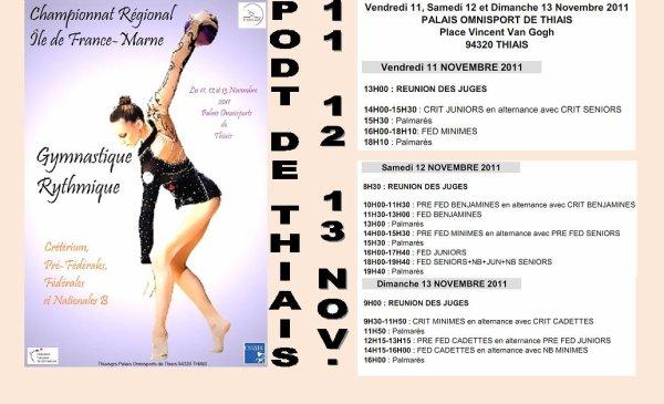 Compétition Régionale Individuelles (Crifmarne) à Thiais les 11, 12 & 13 novembre 2011