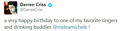 Darren criss's tweet to Lea