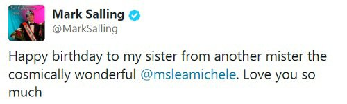 Mark salling's tweet to Lea