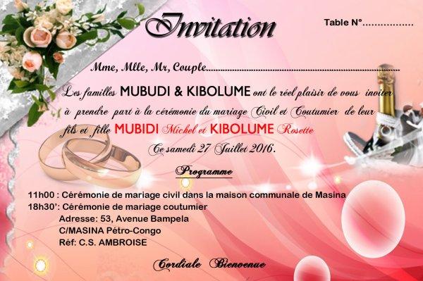 Invitation, Conception, Réalisation Mariage