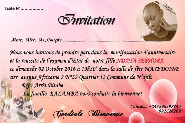 Invitation Anniversaire réalisé