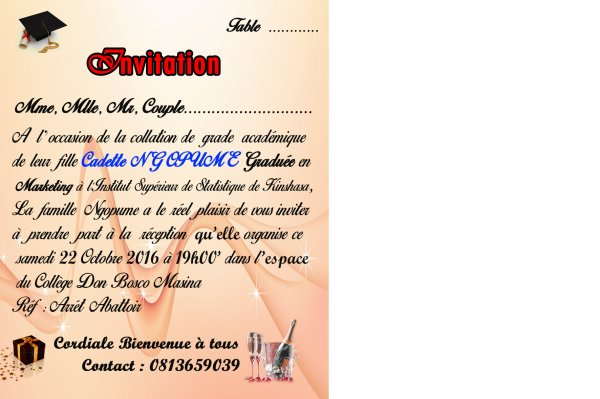 Invitation Cadette Ngopume Collation