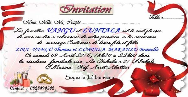 INVITATION MARIAGE COUTUMIER