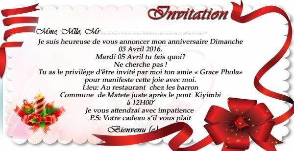 INVITATION A L'OCCASION DE L'ANIVERSAIRE