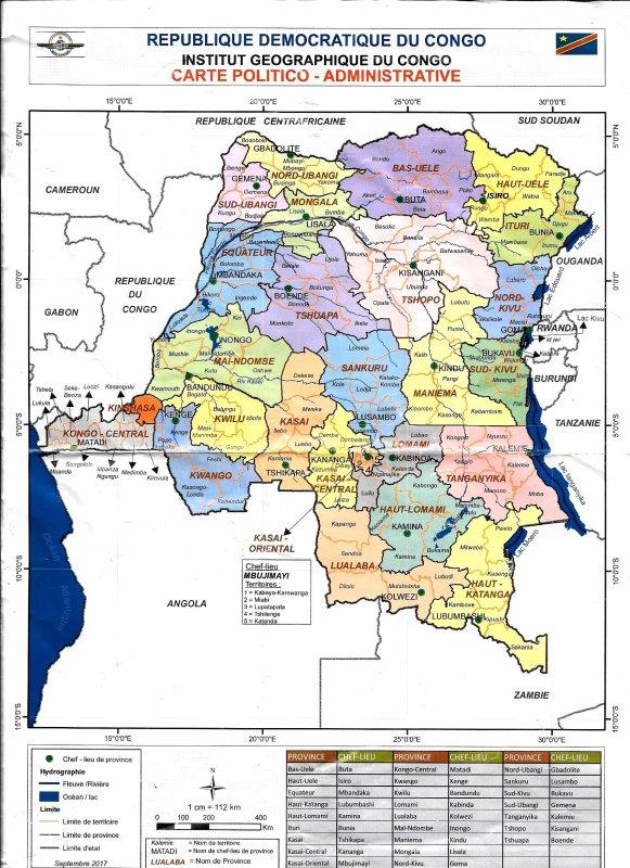 CARTE POLITICO ADMINISTRATIVE DE LA RDC