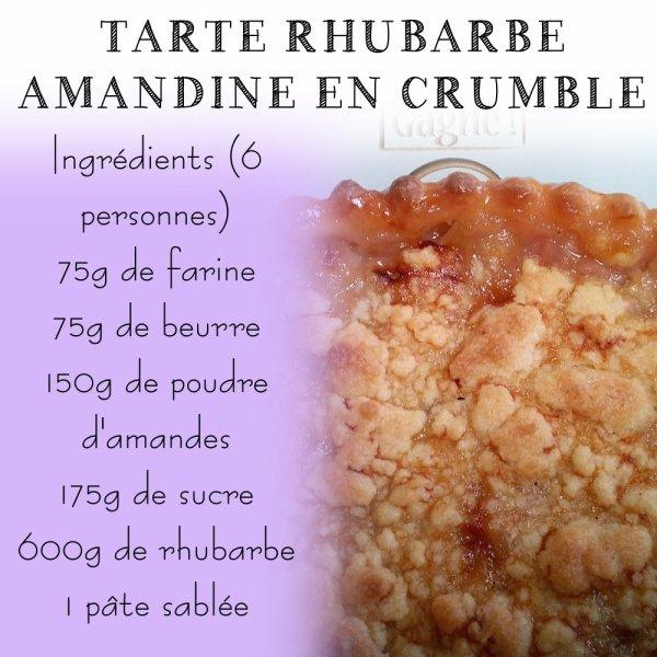 TARTE RHUBARBE AMANDINE EN CRUMBLE