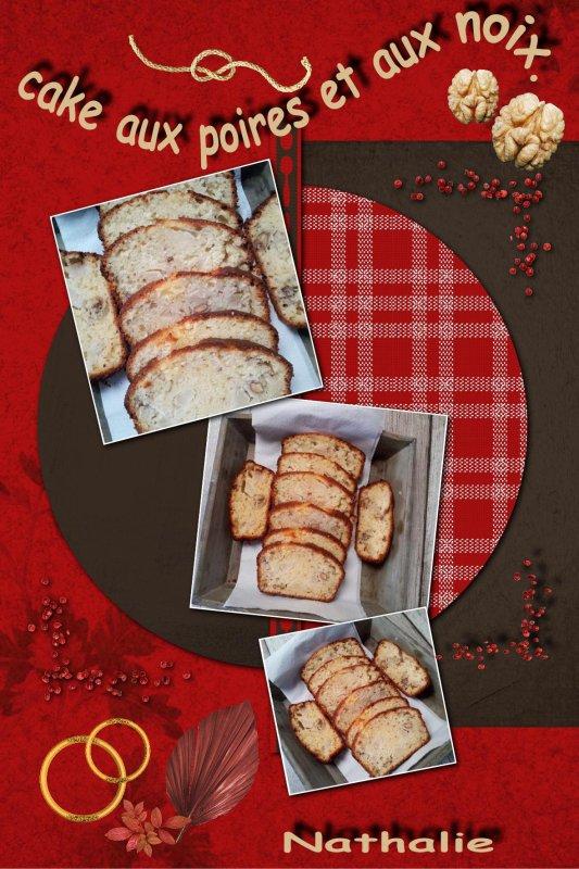 un cake aux poires et noix