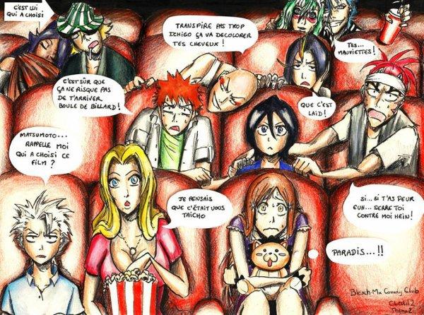 Que font nos shinigamis devant un film d'horreur a votre avis? (Attention,vous allez être surpris!)