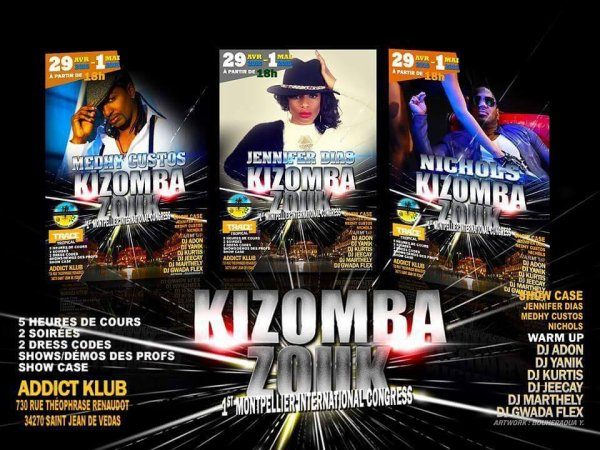 Kizomba Zouk c'est à Montpellier ce week end du 29 avril 2016 ! #KizombaZouk #Montpellier #WeekEnd29avril2016