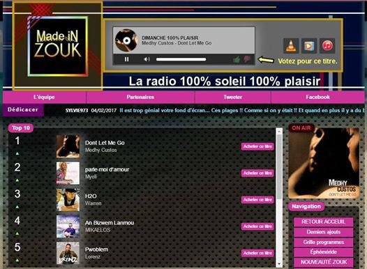 """Don't le me go"" numéro 1 du top 10 sur Made in Zouk..."