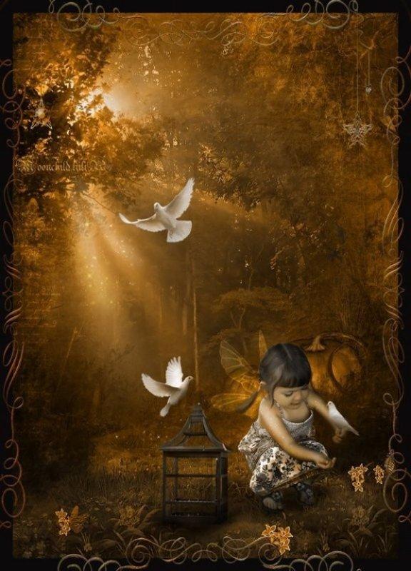 *** adorable petite fée aux colombes ***