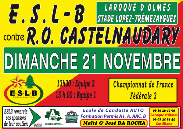 ESLB face à CASTELNAUDARY le 21 Novembre à Laroque