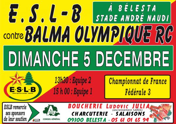 tous avec l'ESL contre Balma le 5 decembre a 15 heures