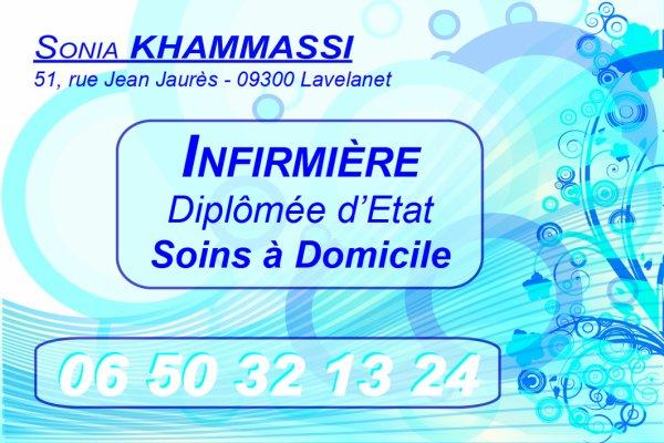 Carte de Visite Sonia Khammassi Infirmière Diplômée