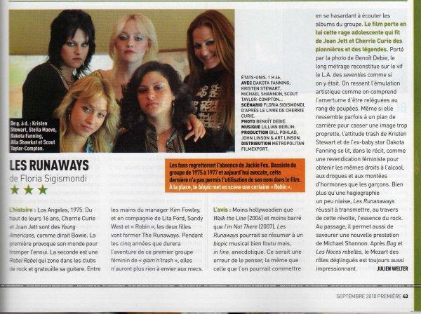The Runaways dans le Magazine Première