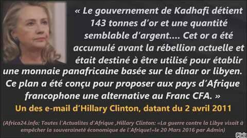 E-mail d'Hillary CLINTON sur l'or de Kadhafi