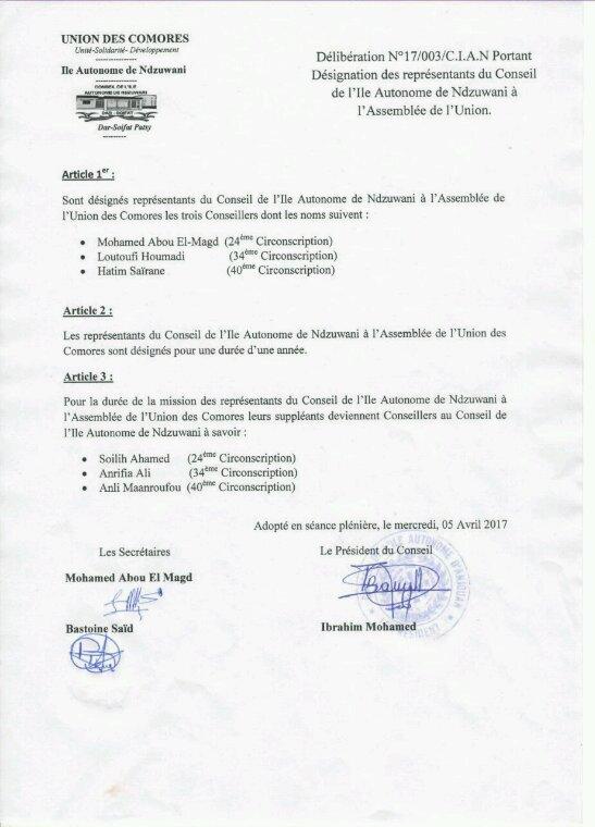 Délibération portant designation des représentants  du Conseil de l' île de Ndzuwani à l'assemblée de l'Union des Comores