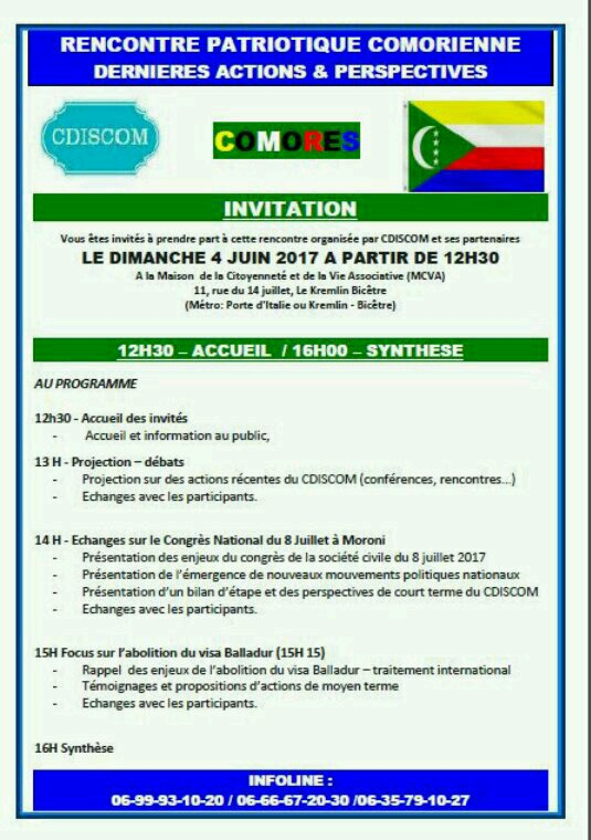 RENCONTRE PATRIOTIQUE COMORIENNE CE DIMANCHE 04/06/2017 AU KREMLIN BICÊTRE
