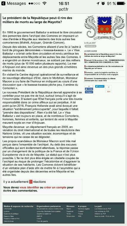 PCF : Le président de la République peu t-il rire des milliers de morts au large de Mayotte ?